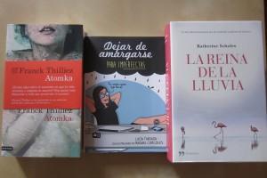 Atomka de Franck Thilliez, Dejar de amargarse para imperfectas y La reina de la lluvia de Katherine Scholes